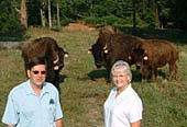 Jack and Sandy standing with buffalo